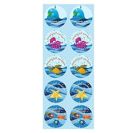 Adesivo Para Lembrancinha - Fundo do Mar c/ 30 unidades