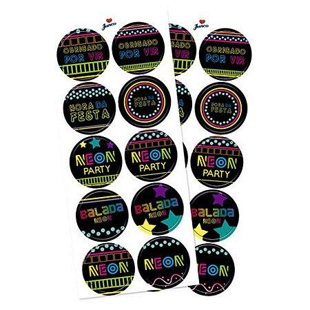 Adesivo Decorativo Redondo - Neon Party c/ 30 unidades