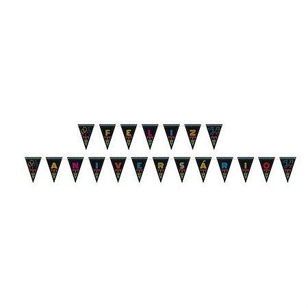 Faixa Feliz Aniversário - Neon Party c/ 1 unidade