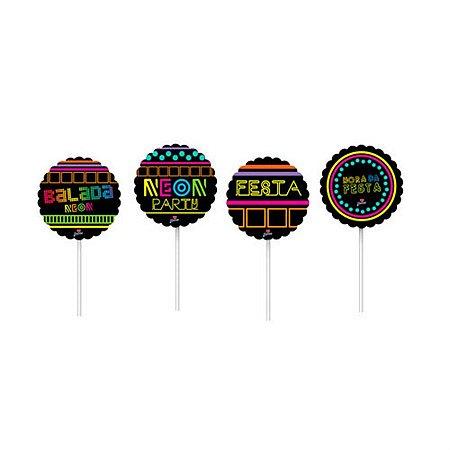 Topper para Doces e Salgados - Neon Party c/ 8 unidades