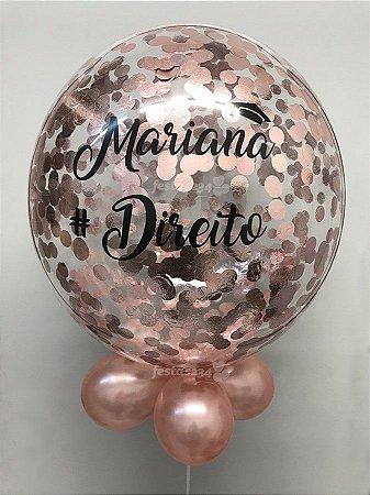 Balão Bubble de Silicone com Confetes em Rose c/ 2 palavras 24 Polegadas