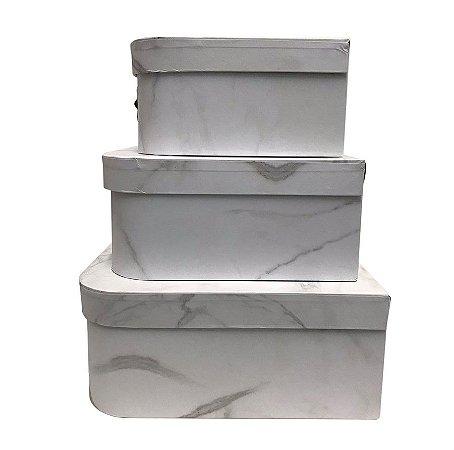 Trio De Maletas Decorativas Branco Marmore