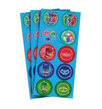 Adesivo Decorativo Redondo - PJ Masks c/ 30 unidades