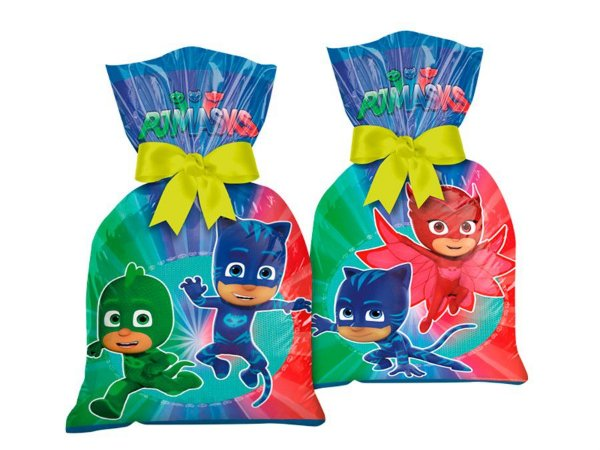 Sacola Plástica - PJ Masks c/ 8 unidades