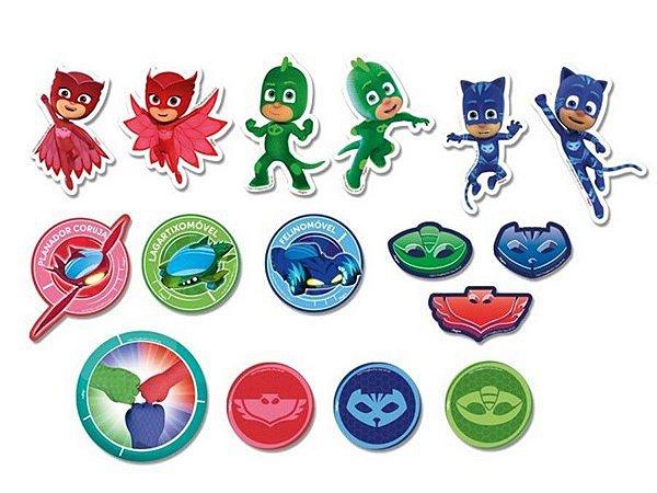 Mini Personagens Decorativos - PJ Masks c/ 39 unidades