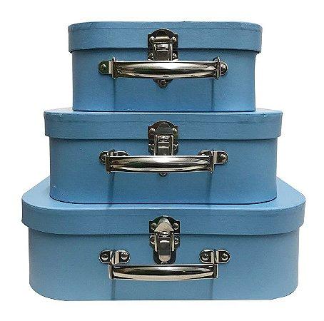 Trio De Maletas Decorativas Azul Céu