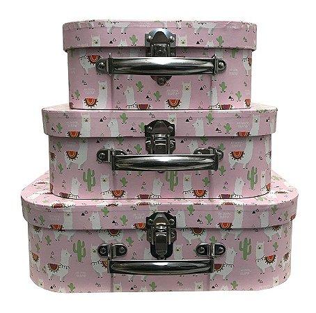 Trio De Maletas Decorativas Rosa Claro de Lhama