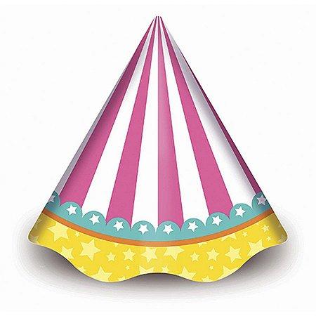 Chapéu de Aniversário - Circo Menina c/ 8 unidades