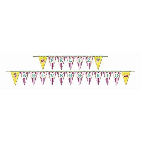 Faixa Feliz Aniversário - Circo Menina c/ 1 unidade