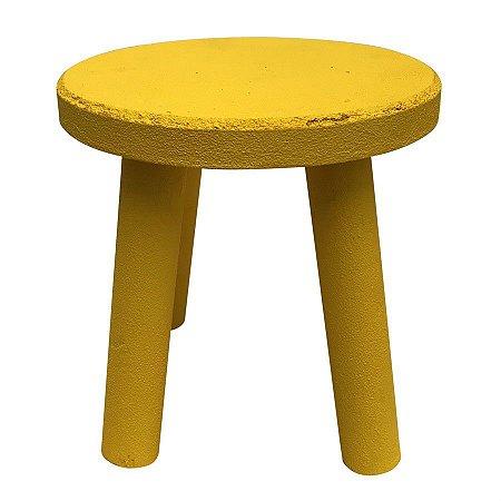 Banqueta de MDF Redonda Grande Amarela