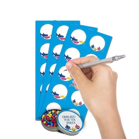 Adesivo Personalizável - Family Shark c/ 30 unidades