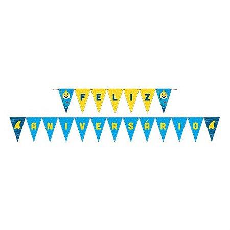 Faixa Feliz Aniversário - Family Shark c/ 1 unidade