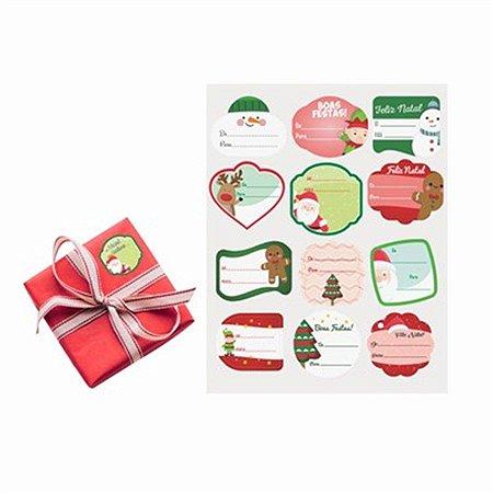 Kit Etiqueta Decorativa - Natal c/ 24 unidades