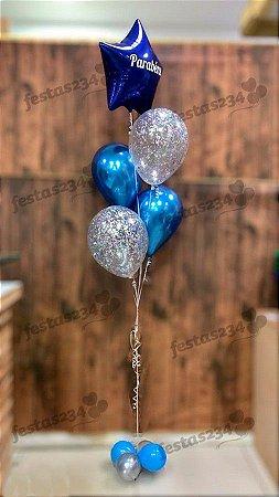 Bouquet de Balões Inflados com Gás Hélio - Kit estrela metalizada com latex confete e cromado