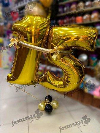 Bouquet de Balões Inflados com Gás Hélio - Kit Balão número metalizado100cm