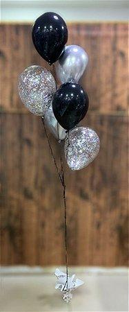Bouquet de Balões Inflados com Gás Hélio - Kit 6 balões látex perolados e confete