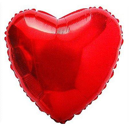 Balão Metalizado Coração 18 Polegadas Liso Vermelho