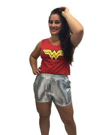 Fantasia Camiseta Mulher Maravilha Carnaval