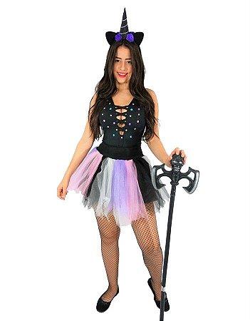 Fantasia Unicórnio Preto Adulto Halloween