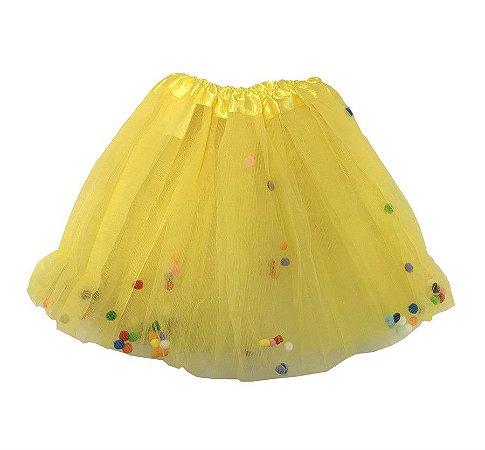 Saia de Tule Amarelo com Bolinhas Coloridas Infantil