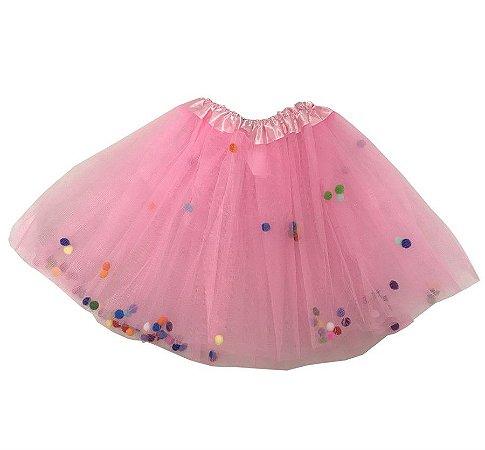 Saia de Tule Rosa Claro com Bolinhas Coloridas Infantil