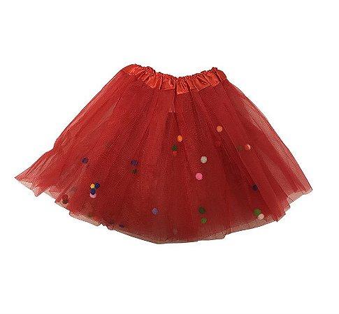 Saia de Tule Vermelho com Bolinhas Coloridas Infantil