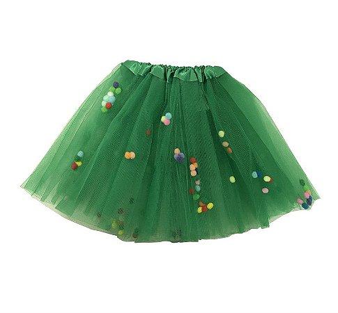 Saia de Tule Verde Bandeira com Bolinhas Coloridas Infantil