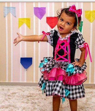 Fantasia Junino Infantil Quadriculado Preto e Rosa - Festa Junina