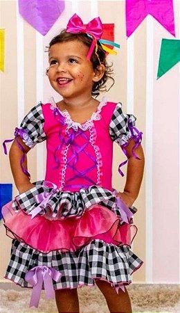Fantasia Junino Infantil Pink Quadriculado Preto - Festa Junina