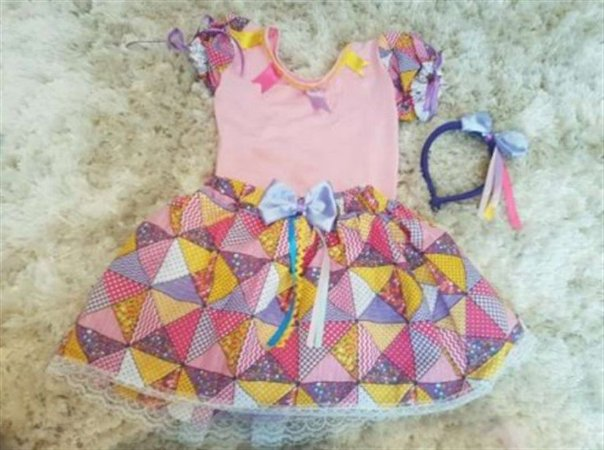 Fantasia Junino Body Infantil Amarelo Quadriculado Petwork - Festa Junina