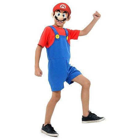 Fantasia Mario Bros Curto Infantil