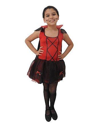 Fantasia Vampira Vermelha Infantil Halloween
