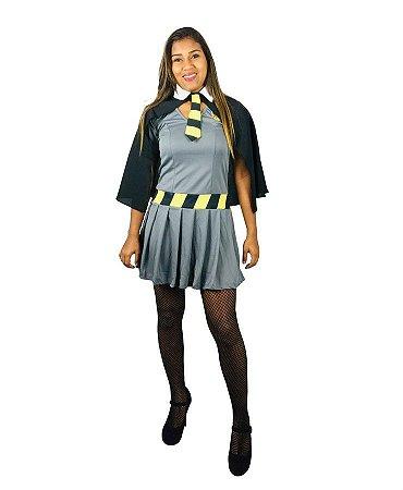 Fantasia Vestido Hermione Lufa-Lufa Adulto Halloween