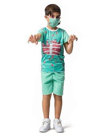 Fantasia Cirurgião Zumbi Curta Infantil Halloween