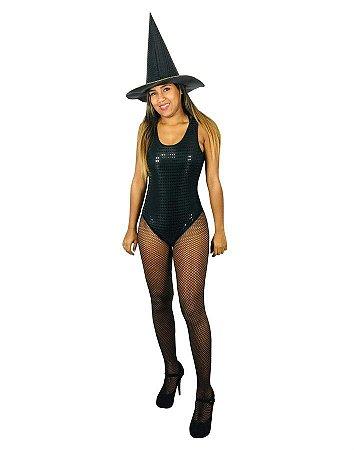 Fantasia Body Paetê Preto Halloween