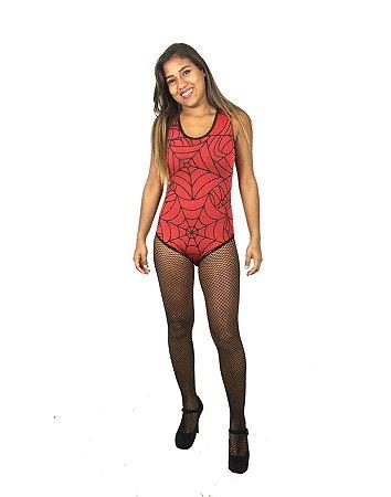 Fantasia Body Teia De Aranha Vermelho Halloween