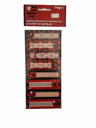 Adesivo decorativo retangular  - Flamengo c/ 03 cartelas