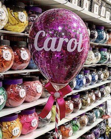 Topo de bolo de balão confete personalizado (1 linha)