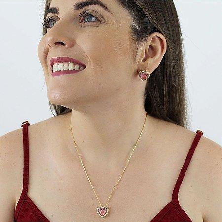 Conjunto de colar e brincos coração de zircônia rosinha folheado a ouro 18k