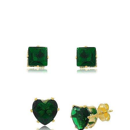 Kit de Brincos Quadrado e Coração de Zircônia Esmeralda Folheado a Ouro 18K