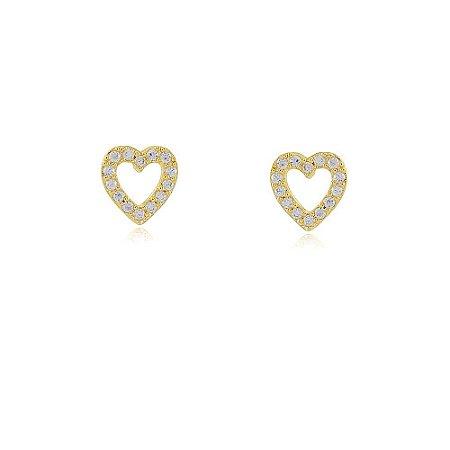 Brinco coração cravejado de zircônia folheado a ouro 18k