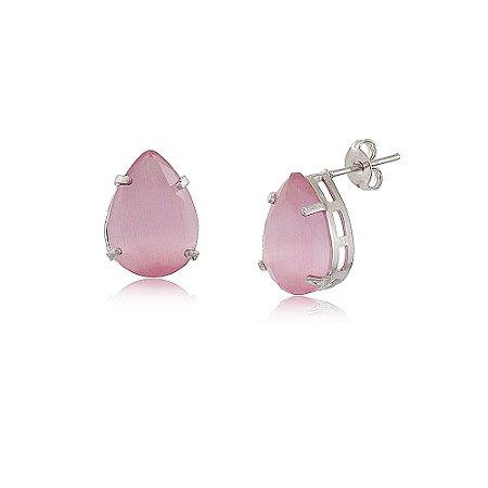 Brinco Gota De Pedra Natural Calcedônia Rosa  Folheado A Ródio Branco