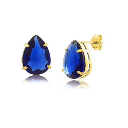 Brinco Gota De Zircônia Azul Montana Folheado A Ouro 18K