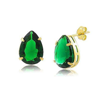 Brinco Gota de Zircônia Verde Esmeralda Folheado a Ouro 18K