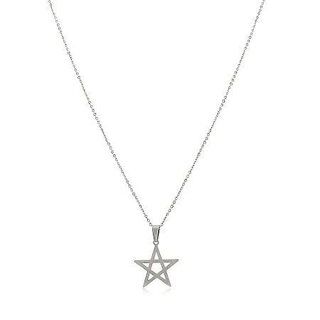 Colar Estrela de Davi Masculino em  Aço Inox Prateado