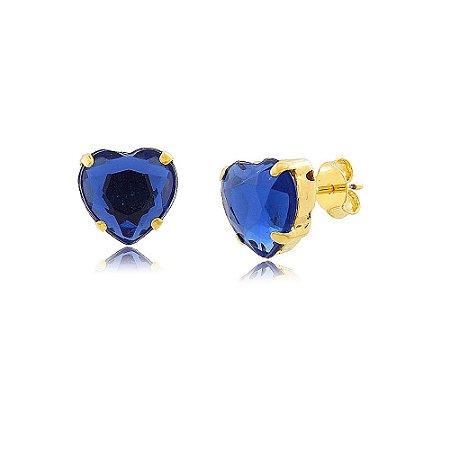 Brinco Coração Com Cristal Azul Folheado A Ouro 18K