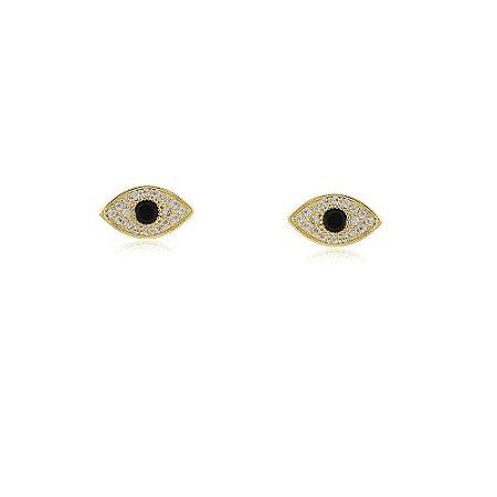 Brinco de olho grego com zircônia folheado a ouro 18k