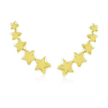 Brinco Ear Cuff De Estrela Folheado A Ouro 18k
