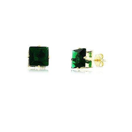 Brinco Pequeno Quadrado De Zircônia Verde Esmeralda Folheado a Ouro 18k