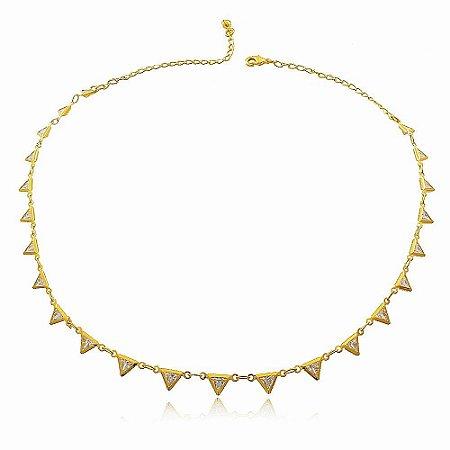 Choker triângulos de zircônias folheado a ouro 18k